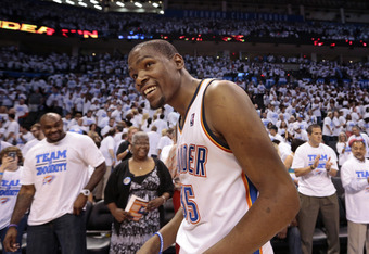 OKLAHOMA CITY, OK - APRIL 30:  Kevin Durant #35 of the Oklahoma City Thunder looks across court after the win against the Dallas Mavericks in Game Two of the Western Conference Quarterfinals in the 2012 NBA Playoffs on April 30, 2012 at the Chesapeake Ene