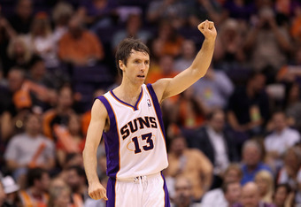 PHOENIX, AZ - APRIL 25:  Steve Nash #13 of the Phoenix Suns reacts during the NBA game against the San Antonio Spurs at US Airways Center on April 25, 2012 in Phoenix, Arizona.  The Spurs defeated the Suns 110-106.  NOTE TO USER: User expressly acknowledg