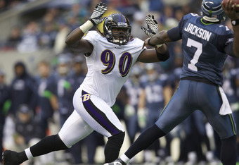DE Pernell McPhee is also an option—after all, Suggs lined up as a DE nearly half the time in 2011
