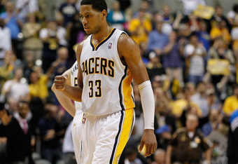 INDIANAPOLIS, IN - APRIL 30: Danny Granger #33 of the Indiana Pacers reacts to a 93-78 win over the Orlando Magic in Game Two of the Eastern Conference Quarterfinals during the 2012 NBA Playoffs on April 30, 2012 at Bankers Life Fieldhouse in Indianapolis