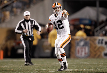 PITTSBURGH, PA - DECEMBER 08:  Colt McCoy #12 of the Cleveland Browns looks to pass against the Pittsburgh Steelers at Heinz Field on December 8, 2011 in Pittsburgh, Pennsylvania.  (Photo by Jared Wickerham/Getty Images)