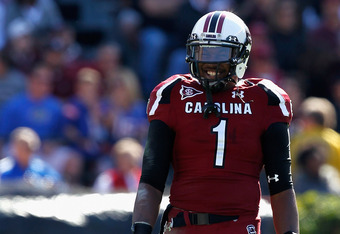 COLUMBIA, SC - NOVEMBER 12:  Alshon Jeffery #1 of the South Carolina Gamecocks smiles as he lines up for a play against the Florida Gators during their game at Williams-Brice Stadium on November 12, 2011 in Columbia, South Carolina.  (Photo by Streeter Le
