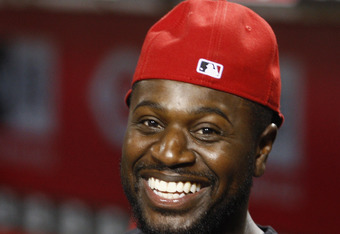CINCINNATI, OH - MAY 01:  Brandon Phillips #4 of the Cincinnati Reds is still in good spirits as heavy storms in the area forced the postponement of the Chicago Cubs versus Cincinnati Reds game at Great American Ball Park on May 1, 2012 in Cincinnati, Ohi