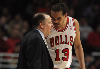 CHICAGO, IL - APRIL 28:  Head coach Tom Thibodeau of the Chicago Bulls gives instructions to Joakim Noah #13 against the Philadelphia 76ers in Game One of the Eastern Conference Quarterfinals during the 2012 NBA Playoffs at the United Center on April 28,