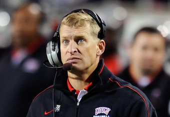 LAS VEGAS, NV - NOVEMBER 05:  Head coach Bobby Hauck of UNLV Rebels watches his team take on the Boise State Broncos at Sam Boyd Stadium November 5, 2011 in Las Vegas, Nevada. Boise State won 48-21.  (Photo by Ethan Miller/Getty Images)