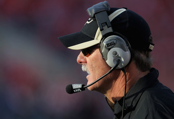 MADISON, WI - NOVEMBER 05:  Head coach Danny Hope of the Purdue Boilermakers watches as his team takes on the Wisconsin Badgers at Camp Randall Stadium on November 5, 2011 in Madison Wisconsin.  Wisconsin defeated Purdue 62-17.  (Photo by Jonathan Daniel/