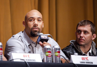 NEW YORK - MARCH 06:   UFC heavyweight Lavar Johnson (L) speaks at a press conference at Radio City Music Hall, as middleweight Alan Belcher (R) listens, on March 06, 2012 in New York City.  UFC announced that their third event on the FOX network will tak