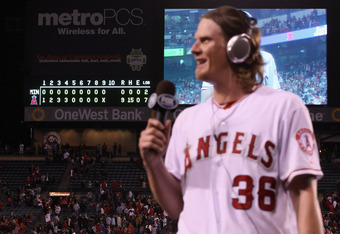ANAHEIM, CA - MAY 02:  The scoreboard is seen, as starting pitcher Jered Weaver #36 of the Los Angeles Angels of Anaheim is interviewed after throwing a no-hitter against the Minnesota Twins at Angel Stadium of Anaheim on May 2, 2012 in Anaheim, Californi