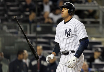 NEW YORK, NY - MAY 02:  Alex Rodriguez #13 of the New York Yankees reacts after striking out in the ninth inning against the Baltimore Orioles at Yankee Stadium on May 2, 2012  in the Bronx borough of New York City.  (Photo by Jim McIsaac/Getty Images)