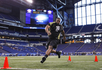 Cordy Glenn performing at the NFL combine.