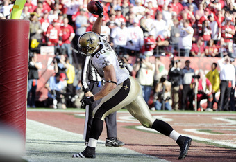 SAN FRANCISCO, CA - JANUARY 14:  Jimmy Graham #80 of the New Orleans Saints celebrates after scoring on a fourteen yard touchdown pass against the San Francisco 49ers in the second quarter during the Divisional Playoffs at Candlestick Park on January 14,