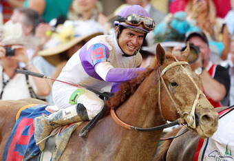 LOUISVILLE, KY - MAY 05:  Mario Gutierrez celebrates atop I'll Have Another after winning the 138th running of the Kentucky Derby at Churchill Downs on May 5, 2012 in Louisville, Kentucky.  (Photo by Andy Lyons/Getty Images)