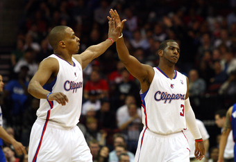 NEWARK, NJ - MARCH 07:  Chris Paul #3 (R) and Randy Foye #4 of the Los Angeles Clippers celebrate a play against the New Jersey Nets at Prudential Center on March 7, 2012 in Newark, New Jersey. NOTE TO USER: User expressly acknowledges and agrees that, by
