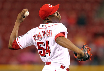 CINCINNATI, OH - APRIL 25:  Aroldis Chapman #54 of the Cincinnati Reds throws a pitch during the game against the San Francisco Giants at Great American Ball Park on April 25, 2012 in Cincinnati, Ohio.  (Photo by Andy Lyons/Getty Images)