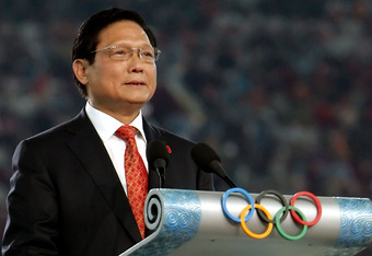 BEIJING - AUGUST 24:  Liu Qi, President of BOCOG talks, during the Closing Ceremony for the Beijing 2008 Olympic Games at the National Stadium on August 24, 2008 in Beijing, China.  (Photo by Jeff Gross/Getty Images)