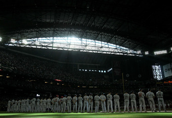 PHOENIX, AZ - JULY 12:  The American All-Star team stands before the start of the 82nd MLB All-Star Game at Chase Field on July 12, 2011 in Phoenix, Arizona.  (Photo by Jeff Gross/Getty Images)