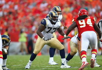 KANSAS CITY, MO - AUGUST 26: Jason Smith #77 of the St. Louis Rams blocks against the Kansas City Chiefs during a pre-season game at Arrowhead Stadium  on August 26, 2010 in Kansas City, Missouri.  The Rams defeated the Chiefs, 14-10. (Photo by Dilip Vish