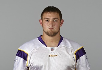 EDEN PRAIRIE, MN- CIRCA 2011: In this handout image provided by the NFL,  Brandon Fusco of the Minnesota Vikings poses for his NFL headshot circa 2011 in Eden Prairie, Minnesota. (Photo by NFL via Getty Images)