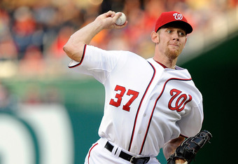 WASHINGTON, DC - MAY 04:  Stephen Strasburg #37 of the Washington Nationals pitches against the Philadelphia Phillies at Nationals Park on May 4, 2012 in Washington, DC.  (Photo by Greg Fiume/Getty Images)