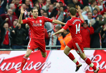 LONDON, ENGLAND - MAY 05:  Andy Carroll of Liverpool (left) celebrates with Jordan Henderson as he scores their first goal during the FA Cup with Budweiser Final match between Liverpool and Chelsea at Wembley Stadium on May 5, 2012 in London, England.  (P