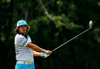 PONTE VEDRA BEACH, FL - MAY 12:  Rickie Fowler of the United States hits his tee shot on the eighth hole during the third round of THE PLAYERS Championship held at THE PLAYERS Stadium course at TPC Sawgrass on May 12, 2012 in Ponte Vedra Beach, Florida.