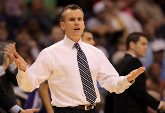 PHOENIX, AZ - MARCH 24:  Head coach Billy Donovan of the Florida Gators reacts late in the second half while taking on the Louisville Cardinals during the 2012 NCAA Men's Basketball West Regional Final at US Airways Center on March 24, 2012 in Phoenix, Ar