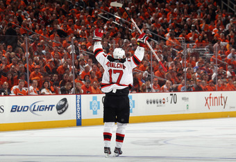 PHILADELPHIA, PA - MAY 08:  Ilya Kovalchuk #17 of the New Jersey Devils celebrates his powerplay goal at 5:00 of the third period against the Philadelphia Flyers in Game Five of the Eastern Conference Semifinals during the 2012 NHL Stanley Cup Playoffs at