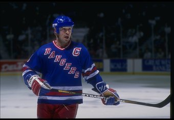 1993-1994:  Center Mark Messier of the New York Rangers looks on during a game against the Anaheim Mighty Ducks at Arrowhead Pond in Anaheim, California. Mandatory Credit: Glenn Cratty  /Allsport