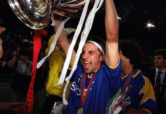 Del Piero celebrating after winning the Champions League title in 1996.