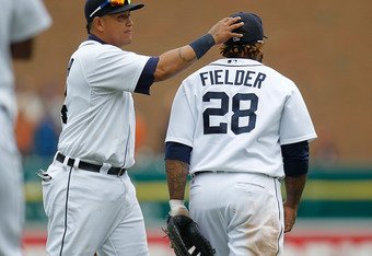 DETROIT, MI - MAY 06: Miguel Cabrera #24 of the Detroit Tigers celebrates a 3-1 win over the Chicago White Sox with teammate Prince Fielder #28 at Comerica Park on May 6, 2012 in Detroit, Michigan. Detroit won the game 3-1. (Photo by Gregory Shamus/Getty