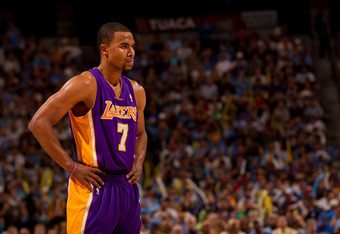 DENVER, CO - MAY 10:  Ramon Sessions #7 of the Los Angeles Lakers in action against the Denver Nuggets in Game Six of the Western Conference Quarterfinals in the 2012 NBA Playoffs at Pepsi Center on May 10, 2012 in Denver, Colorado. NOTE TO USER: User exp