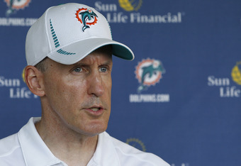 DAVIE, FL - MAY 4: Head coach Joe Philbin of the Miami Dolphins talks to the media after the rookie minicamp on May 4, 2012 at the Miami Dolphins training facility in Davie, Florida. (Photo by Joel Auerbach/Getty Images)
