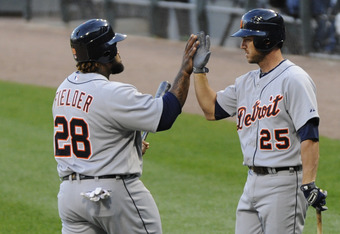 Prince Fielder's RBI double in the first inning got the scoring started for the Tigers.