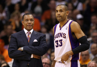 PHOENIX, AZ - FEBRUARY 19:  Head coach Alvin Gentry and Grant Hill #33 of the Phoenix Suns during the NBA game against the Los Angeles Lakers at US Airways Center on February 19, 2012 in Phoenix, Arizona. The Suns defeated the Lakers 102-90.  NOTE TO USER