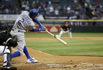 The 25-year-old Alcides Escobar is getting hits early this season, putting him in a position to steal bases.