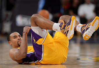 LOS ANGELES, CA - MAY 12:  Ramon Sessions #7 of the Los Angeles Lakers looks on while lying on his back in the third quarter while taking on the Denver Nuggets in Game Seven of the Western Conference Quarterfinals in the 2012 NBA Playoffs on May 12, 2012