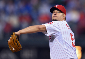 PHILADELPHIA, PA - MAY 14: Starting pitcher Joe Blanton #56 of the Philadelphia Phillies delivers a pitch during the game against the Houston Astros at Citizens Bank Park on May 14, 2012 in Philadelphia, Pennsylvania. (Photo by Drew Hallowell/Getty Images