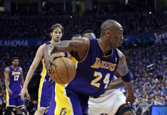 OKLAHOMA CITY, OK - MAY 14:  Kobe Bryant #24 of the Los Angeles Lakers drives inside in Game One of the Western Conference Semifinals in the 2012 NBA Playoffs on May 14, 2012 at the Chesapeake Energy Arena in Oklahoma City, Oklahoma. Oklahoma City defeate