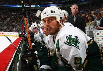 VANCOUVER, BC - APRIL 23:  Mike Modano #9 of the Dallas Stars looks on against the Vancouver Canucks during Game 7 of the 2007 Western Conference Quarterfinals at General Motors Place on April 23, 2007 in Vancouver, British Columbia, Canada. The Canucks w