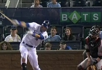 A foul ball ricochets into Alex Gordon during the Royals game Wednesday night. (MLB.com)