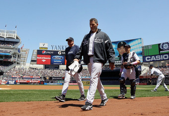 NEW YORK, NY - MAY 13:  Andy Pettitte #46 of the New York Yankees walks to the dugout prior to the start of the game against the Seattle Mariners at Yankee Stadium on May 13, 2012  in the Bronx borough of New York City.  (Photo by Jim McIsaac/Getty Images
