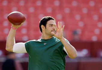 LANDOVER, MD - DECEMBER 04:  Mark Sanchez #6 of the New York Jets throws a pass during warmups before the start of the Jets game against the Washington Redskins at FedExField on December 4, 2011 in Landover, Maryland.  (Photo by Rob Carr/Getty Images)