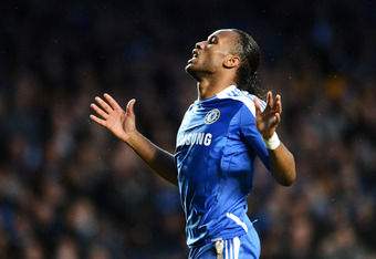 LONDON, ENGLAND - APRIL 18:  Didier Drogba of Chelsea reacts during the UEFA Champions League Semi Final first leg match between Chelsea and Barcelona at Stamford Bridge on April 18, 2012 in London, England.  (Photo by Jasper Juinen/Getty Images)