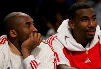 NEW ORLEANS - FEBRUARY 17:  Kobe Bryant #24 and Amare Stoudemire #1 of the Western Conference sit on the bench during the first half of the 57th NBA All-Star Game, part of 2008 NBA All-Star Weekend at the New Orleans Arena on February 17, 2008 in New Orle