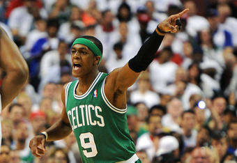PHILADELPHIA, PA - MAY 18: Rajon Rondo #9 of the Boston Celtics reacts during the game against the Philadelphia 76ers in Game Four of the Eastern Conference Semifinals in the 2012 NBA Playoffs at the Wells Fargo Center on May 18, 2012 in Philadelphia, Pen
