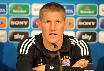 MUNICH, GERMANY - MAY 18:  In this handout image provided by UEFA, Bastian Schweinsteiger speaks during the FC Bayern Muenchen press conference, ahead of the UEFA Champions League Final between FC Bayern Muenchenand Chelsea at the Fussball Arena München o
