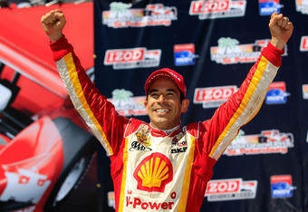 ST PETERSBURG, FL - MARCH 25:  Helio Castroneves of Brazil, driver of the #3 Shell V-Power/Pennzoil Ultra Team Penske celebrates winning the IZOD IndyCar Series Honda Grand Prix of St Petersburg on March 25, 2012 in St Petersburg, Florida.  (Photo by Chri
