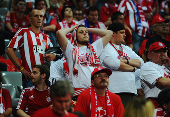 MUNICH, GERMANY - MAY 19:  Bayern Muenchen fans look dejected after the UEFA Champions League Final between FC Bayern Muenchen and Chelsea at the Fussball Arena München on May 19, 2012 in Munich, Germany.  (Photo by Mike Hewitt/Getty Images)