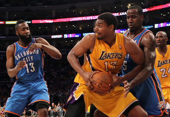 LOS ANGELES, CA - MAY 19:  Andrew Bynum #17 of the Los Angeles Lakers grabs a rebound in front of Kendrick Perkins #5 of the Oklahoma City Thunder in the second quarter in Game Four of the Western Conference Semifinals in the 2012 NBA Playoffs on May 19 a