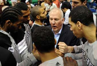 SALT LAKE CITY, UT - MAY 07: Head coach Gregg Popovich of the San Antonio Spurs speaks to his team before Game Four of the Western Conference Quarterfinals in the 2012 NBA Playoffs at EnergySolutions Arena on May 7, 2012 in Salt Lake City, Utah. NOTE TO U